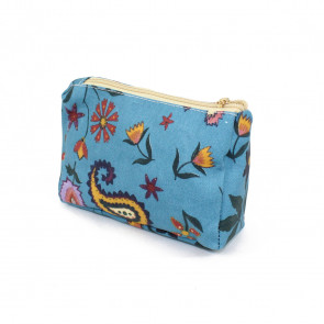 Folk Flower Make Up Bag Light Blue